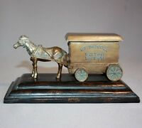 Advertising HS Badcock HORSE WAGON CART FIGURINE Cast Metal DESK PAPERWEIGHT