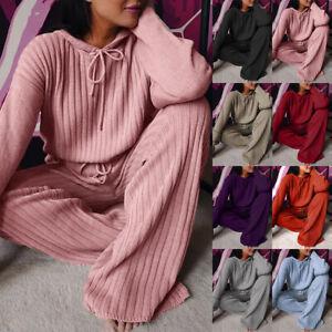 2PCS Womens Tracksuits Set Ladies Hooded Loose Loungewear Knitwear Tops Pants *