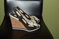 COACH WOMEN TWIRLING Q334 CANVAS  OPEN TOE WEDGE SANDALS SZ-7 B NEW