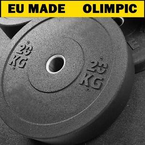 Bumper Weight Plates Black Olympic Size Rubber Crumb  5kg 10kg 15kg 20kg Gym