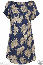 Topshop Blue Imperial Lily Floral Tunic Mini Dress - Size 10