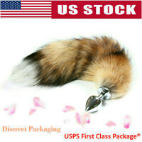 Small Anal-Butt Stainless Steel Plug Artificial Fox Tail Role Cosplay Game US
