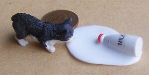 1:12 Scale Resin Black & White Cat With Spilt Milk Tumdee Dolls House Pet Garden