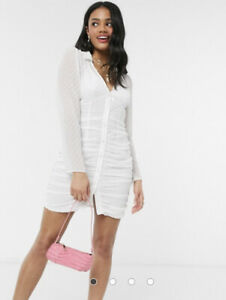 ASOS DESIGN ruched button through White mini dress in dobby Size 12 BNWT RRP £35