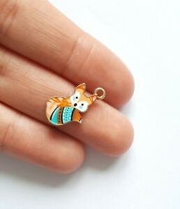 """enamel charms and pendants for jewellery making """"coloured fox"""" pack of 6"""