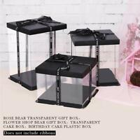 Transparent Gift Box Plastic Organizer with Black Lid Base for Bear Flower Cake