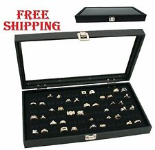 72 Slot Ring Display Organizer Jewelry Storage Box Case Tray Holder Glass Top SE