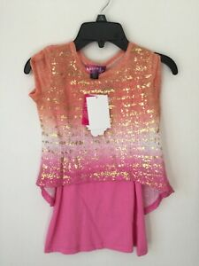 NWT Self esteem girls 2 pc short sleeve top blouse Size 7/8