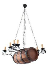 Aged Wood Rustic Barrel Chandelier. Metal Wood Ceiling Hanging Candle Light