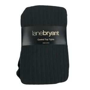 Lane Bryant Size C/D Control Top Tights Green Ribbed