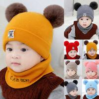 New Kids Baby Boys Girls Fur Pom Hat Winter Warm Knit Bobble Beanie Cap Scarf