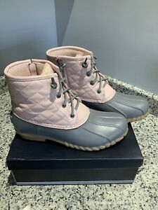 Women's Nautica Duck Boots. Quilted Fleece Lined Side-Zip. Size 8. Pink/gray EUC