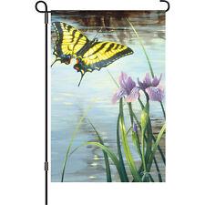 """Swallowtail Butterfly Blue Iris Flower Pond Garden Flag Small 18"""" x 12"""""""