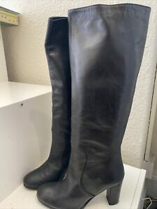 LAB Black All Leather Knee High Boots Size 38/5 (144BB)