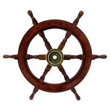 "Antique Wooden Maritime Decor 24"" Captains Shipwheel Ships Wheel Steering Helm"