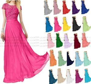 New Long Lace Formal Wedding Evening Party Ball Gown Bridesmaid Dress Size 6-30