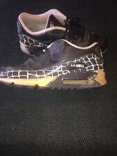 "Nike Air Max 90 Leather Black/White Shoe 302519 901 Size 11 ""3M"" Crocodile Print"