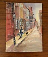Vintage Oil Painting Paris France Artist Poodle Dog Street Mid Century Modern