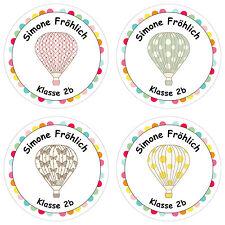 24 individuelle Namensaufkleber Schule – mit Ballon Motiv für Kinder - PAPIER...