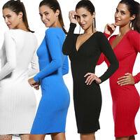 Sexy Women V-Neck Long Sleeve Bodycon Dress Slim Party Clubwear Mini Dress Basic