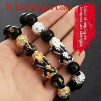 Feng Shui Schwarz Obsidian Perlen Pi Xiu Reichtum Armband Schmuck Viel D6Y0