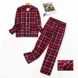 Women Ladies Fleece Pajamas Set Long Sleeve Sleepwear Cotton Flannel Homewear Pj