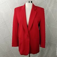 Vintage Career 100% Wool Blazer Power Suit Jacket size 6 boxy button coat Red