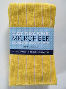 Now Designs Microfiber Cleaning Towels,YELLOW, Set of 3, NEW