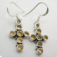"""925 Sterling Silver Authentic CUT CITRINE CROSS RETRO STYLE Earrings 1.3"""" NEW"""