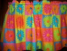 Crazy Daisy Patchwork hippy retro 60's flowers fabric curtain topper Valance