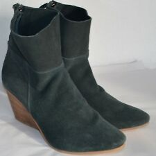 Matisse East Ankle Boots Womens 8 M Blue Suede Back Zip Wedge Heel Slouch Bootie