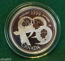 1999 CANADA Millennium Sterling Silver Quarter for January in proof finish
