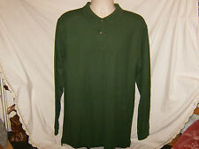 NEW L.L. BEAN Premium Double L Long Sleeve Polo Shirt M Green