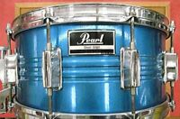 """Used! PEARL Steel Shell Snare Drum Blue 14""""x6"""" Made in Japan"""
