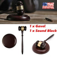 Crafted Court Hammer Sound Block Gavel Handmade Lawyer Judge Wood Hand Auction