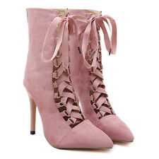 Womens Ladies Stiletto Cut Out Lace Up High Heels Ankle Boots Pointed Toe Shoes