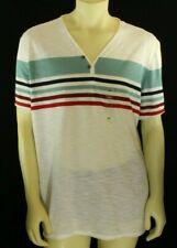 INC Men's Henley T Shirt Striped Island White Size 3XL