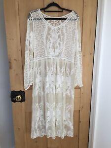 Vintage cream lace 90's grunge midi dress size 12-14