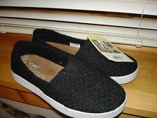 Girls Women's TOMS SHOES Avalon Sneaker - Black Sz 5 NEW NWT Textured Retail $59