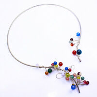 .925 Sterling Silver Plated Choker Collar Necklace Round Wavy Fashion Jewelry