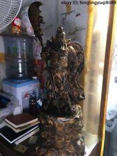 32 Bronze Copper Dragon Guan Gong GuanYu Warrior God Guangong Hold Knife Statue