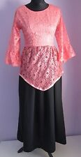 VTG Ladies Unbranded Coral/Black Lace Overlay Long Evening Dress Size 10