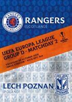 Rangers v Lech Poznan 2020/21 Europa League programme Immediate Delivery.