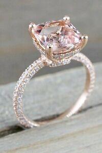 3Ct Cushion Cut Morganite Simulnt Diamond Solitaire Ring Rose Gold Finish Silver