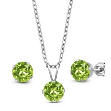 2.55 Ct Round Green Peridot 925 Sterling Silver Pendant Earrings Set With Chain