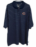 NFL Team Apparel Mens 2XL Chicago Bears Navy Blue Striped Short Sleeve Shirt