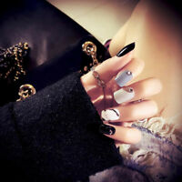 24pcs/set full cover false nail art tips tools short nails diy manicure