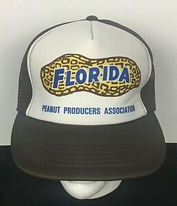 Vintage Florida Peanut Producers Association SnapBack Hat Brown White Logo Men's