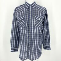 ELY CATTLEMAN Checked Country Western Long Sleeve Button Down Blue White Shirt