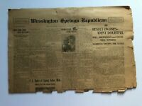 1916 Newspaper, Wessington Springs, South Dakota SD- LOTS Of History!